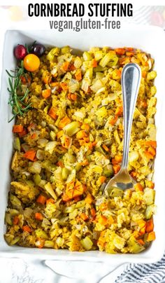 This Fabulous Vegan Cornbread Stuffing Gluten-Free, Vegan Is Not Only Flavorful But It Is Also Gluten-Free. On the off chance that You Have Never Tried Cornbread Stuffing, Also Known As Cornbread Dressing, Healthiersteps Vegan Cornbread Stuffing Recipe, Gluten Free Stuffing, Homemade Cornbread, Stuffing Recipes, Vegan Stuffing, Dairy Free Recipes, Vegetarian Recipes, Healthy Recipes, Lunch Recipes