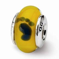 Sterling Silver Kids Yellow Foot Mur.Glass Bead