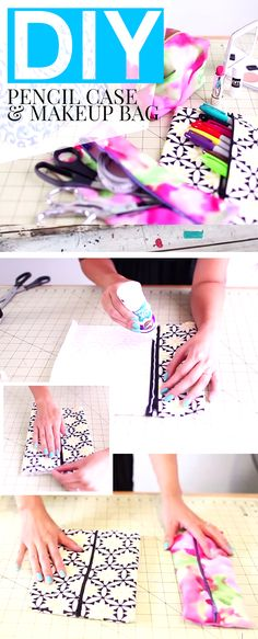 No Sew Projects: DIY Pencil Case Or Make Up Bag -- Use old fabric you have laying around to make a stylish and fun accessory. Full video tutorial gives step-by-step instructions.