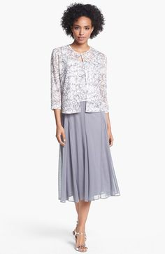 Alex Evenings Embellished Mixed Media Dress & Jacket available at #Nordstrom. Margie would look lovely in this!