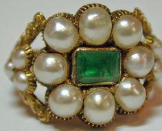 Georgian Natural Pearl and Emerald Cluster Ring, c 1830