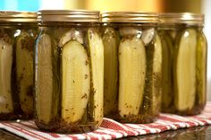 Kosher Dill Pickles - this is a real deal canning recipe, with the whole boiling the jars, and all that stuff.  I've never done that before, but if I feel ambitious ever this sounds like a good recipe!