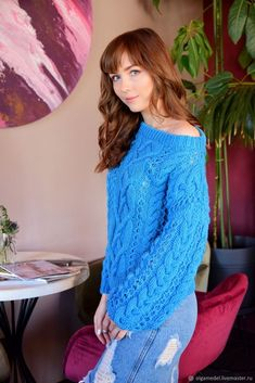 One Shoulder Knitted wool sweater Knitted clothing Cable knit sweater Hand knitted sweater Oversized sweater Women's sweater Gift for her - Fashion City Hand Knitted Sweaters, Wool Sweaters, Chunky Sweaters, Handgestrickte Pullover, Sweatshirt, Turquoise Clothes, Summer Fashion Outfits, Dame, Knitwear