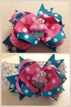 Colorful Polka Dot Cupcake Birthday Bow by HelloKourtneyBows, $8.00