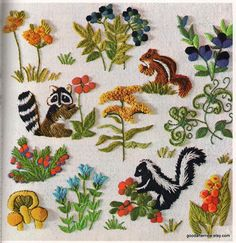 Two Crewel Embroidery Patterns Vintage Needlepoint Woodland Nursery Birds Animals on Etsy, $8.04