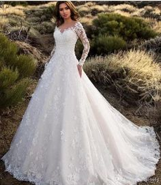 New Images Sexy V-Neck Backless A Line Sheer Lace Applique Long Sleeve Wedding Dress Classic Wedding Gowns Style Lovely Wedding Dresses ! The existing wedding dresses 2019 contains twelve different dresses in the Classic Wedding Gowns, Country Wedding Dresses, Long Sleeve Wedding, Wedding Dress Sleeves, Modest Wedding Dresses, Elegant Dresses, Sexy Dresses, Summer Dresses, Formal Dresses