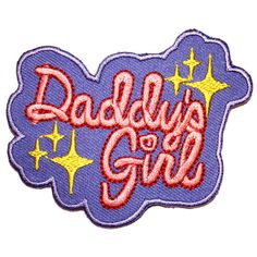 Daddy's Girl Iron On Patch Embroidery Sewing DIY Customise Denim Cotton Cute DDLG Fetish Kink Pastel Pink Lilac Glitter Pet Sub BDSM