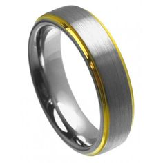 6mm Tungsten Ring Men Women Wedding Band Brushed Center Yellow Gold Plated Edge