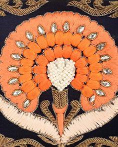 Navy Blue Clutch with Floral Motif - Karieshma Sarnaa - Designers