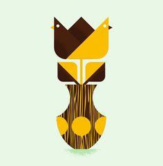 Flower Birds | Illustrator: Luke Bott - http://lukebott.com