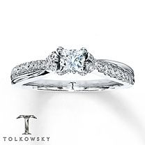 5/8 ct tw Diamond Engagement Ring Princess-Cut 14K White Gold $2699
