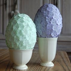 Styrofoam (?) Easter eggs covered with dozens of tiny paper flowers...very cute...
