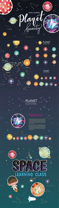 SPACE LEARNING PLANET BEAUTY by beerjunk on @creativemarket Planet Design, Beauty Planet, Learning Spaces, Graphic Illustration, Illustrations, Elementary Science, Text Color, Graphic Design Inspiration, Book Design