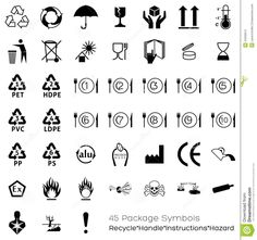 Collection Of 45 Packaging Symbols Stock Images - Image: 34330914