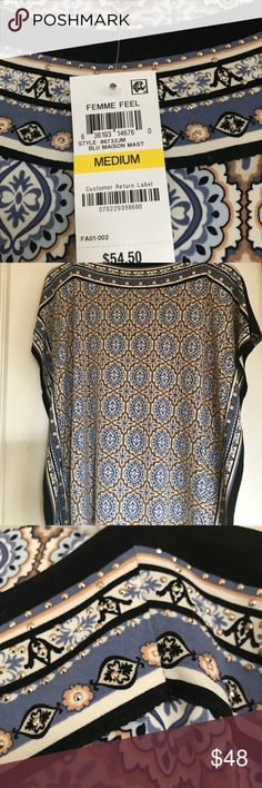 Great Top (brand new)! NWT: Fabulous JM top in navy, taupe and white! Embellished with sparkly (yet tasteful) accents. Great loose fit but not too long! JM Collection Tops