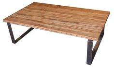 Custom Made Industrial Modern Metal And Reclamed Wood Coffee Table