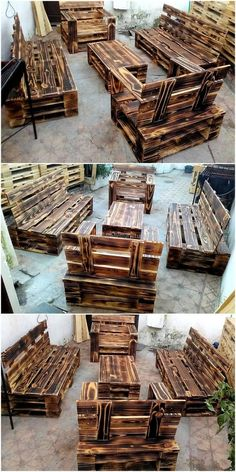 Here we are proudly presenting to you a pallet barn wood furniture. This furniture seems wonderful as shown in the picture given below. This furniture set includes two large-size recycled pallets couches with two single seaters and a beautifully constructed pallets table.
