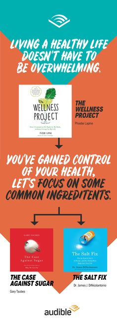Living a healthy life doesn't have to be overwhelming when you have 'The Wellness Project' by Phoebe Lapine(http://adbl.co/2ELx8Jg) to guide you. Once you've gained control of your health, let's focus on some common ingredients with 'The Case Against Sugar' by Gary Taubes (http://adbl.co/2BKiX4m) and The Salt Fix by Dr. James J. DiCicolantonio (http://adbl.co/2CdZFFp).