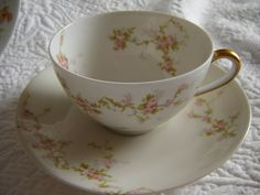 China Collectible Cups And Saucers | Vintage Haviland cup and saucer set antique china collectible shabby ...