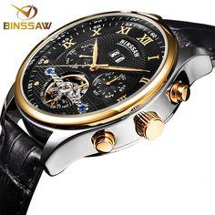 BINSSAW Luxury Mechanical Watch Men Automatic Tourbillon Wrist Watches Top Brand Man Leather Business Clock relogio masculino