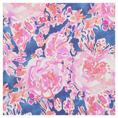 Shop FULLY EXPRESSED Navy Pink Hibiscus Floral Fabric created by BarbarianHeart. Pink Fabric, Floral Fabric, Watercolor Floral Wallpaper, Hibiscus Rosa Sinensis, Pink Quilts, Pink Abstract, Navy Pink, Custom Fabric, Crafts To Make
