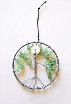 Tree of Life Wall Hanging with Green by FeathersandStars on Etsy