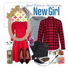 """""""Costumes from Your Closet :: New Girl & New Bo Nick"""" by leighanned on Polyvore - Who's that girl? What's her costume? What about his? It's not the clothes but the accessories that make these costumes for a cute couple so, well, adorkable!   Create and carry around a picture frame and backdrop as well as a """"d**chebag jar"""" full of change to sell these every day clothes as New Girl Jess and her new boyfriend Nick."""