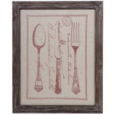 Fabric print with a cutlery and script motif and weathered wood frame.        Product: Framed wall art  Construction Mat...