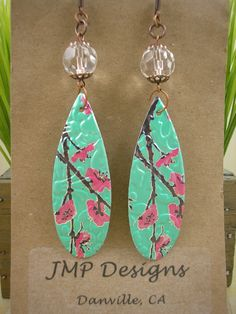 Bohemian Dangle Earrings DOUBLE-sided. Recycled by jillmccp