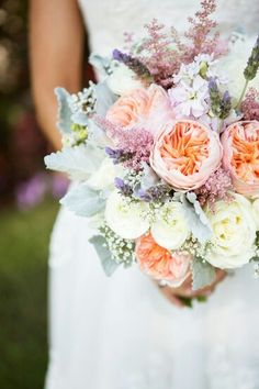 White Ranunculus, White Roses, White Gypsophila, Fresh Lavender, Lavender Stock, Pink Astilbe, Peach Juliet David Austin English Garden Roses + Dusty Miller Wedding Bouquet