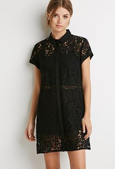 Floral Lace Shirt Dress | Forever 21 - 2000183583