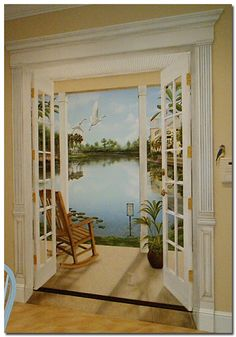 Tromp l'oeil Art.. to create French doors on a wall ~ Trompe l'oeil murals are paintings that create an illusion that fool or trick the eye.