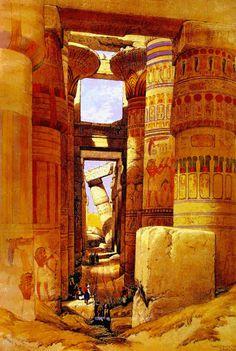 - Templo de Karnak, Egipto, Pintura Orientalista - Decoración Árabe