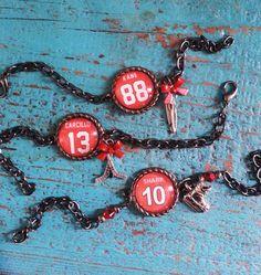 Blackhawk Player Tribute Bracelets by on Etsy Hockey Baby, Ice Hockey, Hockey Outfits, Hockey Girlfriend, Chicago Blackhawks, Handcrafted Jewelry, Bracelets, Necklaces, Girlfriends