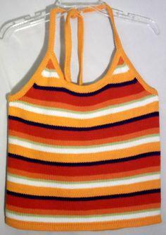 New JONES NEW YORK SPORT 100% Cotton Striped Knit Halter Top/Sweater Extra Large #JonesNewYorkSport #Halter #jones #halter #top #knit #cotton #extralarge #extra #large #orange #white