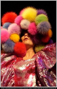 If gonzoid children's illustrator Dr Seuss had ever dreamed up a political animal, it might have looked rather like Björk. She arrives onstage on the first of three nights at London's Hammersmith Apollo wearing a pink and gold iridescent ballgown made entirely of ruffles, topped off by a fluffy head-dress of multicoloured powder puffs. http://theguardian.com/music/2008/apr/20/popandrock.bjork1