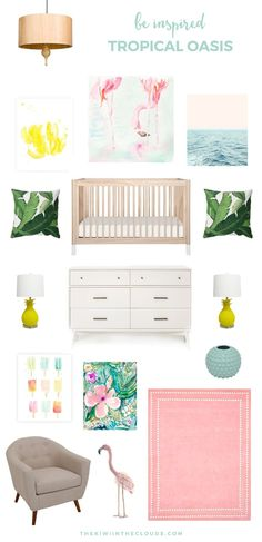 Tropical Baby Nursery | This baby girl\'s nursery inspiration board is fun, flirty and screams summer time! Would be super cute with some Coco Moon swaddles - www.cocomoonhawaii.com