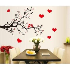 Fashion Red Love Heart Wall Decor Vintage Life Tree Wall Sticker Home Decor Romantic Birds Wall Sticker