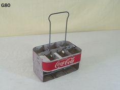 VINTAGE COCA COLA COKE SODA POP ADVERTISING METAL BOTTLE CARRIER CADDY OLD PIECE #CocaCola