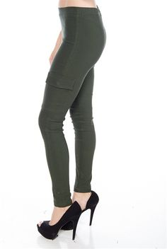 Pocket Protection Skinny Pants - Olive from Voll at Lucky 21