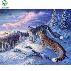 full mosaic diamond painting exotic winter snow mountain leopard animals 3d beaded embroidery wall decor cross stitch painting #Affiliate