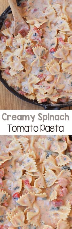 Creamy Spinach Tomato Pasta - A rich and ultra creamy pasta recipe, without all the unhealthy fat and calories - This delicious one-pot meal is a weeknight staple - We never have any leftovers! Pasta Cremosa, Pasta Casera, Vegetarian Recipes, Cooking Recipes, Healthy Recipes, Cooking Ideas, Spinach Pasta, Creamy Spinach, Spinach Noodles