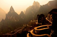 The Road to Heaven's Gate (China)~ Amazing shot! Just looking at the road makes me nauseous