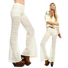 70s Crochet Pants Vintage Lace maxi long handmade / flare pants / 70s style / hippie boho bohemian beige SMALL on Etsy, $59.00