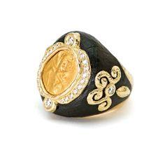 KATY BRISCOE - Carved Ebony, Ancient Coin & Diamond Ring