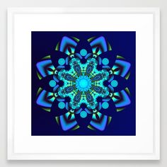 This geometric fractal kaleidoscope flower has in the centre beautiful decorative spiral shapes and patterns. They show theur beauty fully in the bigger sizes. The colors are blue, turquoise, purple and green / yellow.