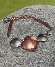 Another great find on #zulily! Two-Tone & Brown Leather Hammered-Disc Bracelet #zulilyfinds