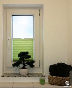 Badezimmer [ bathroom ] sensuna® Plissee 'Bambus' im Badezimmer - Kundenfoto / sensuna® pleated blind