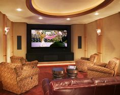 Media Room Design, Pictures, Remodel, Decor and Ideas - page 23 i like the layout of the furniture, recliners and sofa
