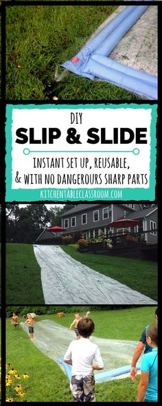 Super Simple DIY Slip and Slide This DIY slip and slide goes together in minutes can be reused over and over and has no scary garden stakes involved. Summer fun coming up! The post Super Simple DIY Slip and Slide appeared first on Summer Diy. Slip And Slide Baseball, Giant Slip And Slide, Homemade Slip And Slide, Slip N Slide, Homemade Water Slides, Giant Water Slide, Backyard Games, Outdoor Games, Outdoor Play